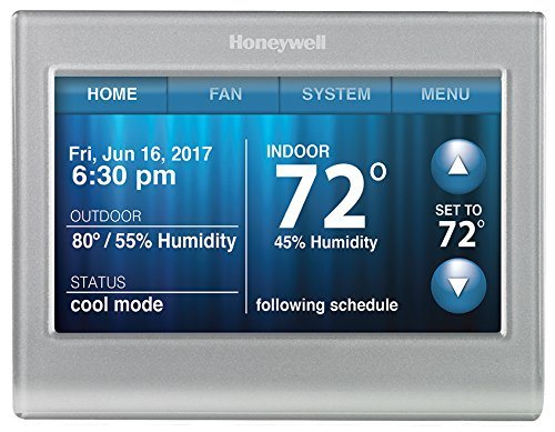 Honeywell RTH9580WF Wi-Fi Smart Touchscreen Thermostat, Silver, Works with Alexa (no hub required)