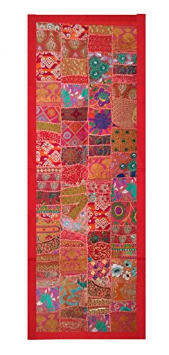(Rastogi Handicrafts Indian Handmade Embroidered Patchwork Old Hanging Wall Art Vintage Tapestry Old Sari Cutting Wall Hanging Parda (RED, 20 X 60))