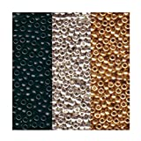 seed beads for jewelry making - Metallic Miyuki Seed Bead Mix, Size 8/0, Galvanized Silver, Galvanized Gold And Black Opaque