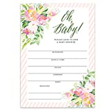"Oh Baby Shower Invitations Pretty Girl Flowers Fill-in-Style Blank Invites with Envelopes (Pack of 50) Large 5x7"" Pink Border Floral Mom-To-Be Newborn Infant Daughter Child Excellent Value VI0088"