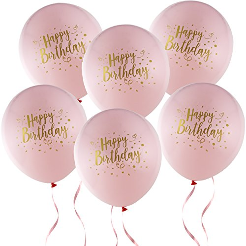 36 Happy Birthday Balloons Girl 12 Latex Pink and Gold Decorations for Baby First Birthday Party Favor Supplies
