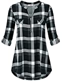 Jazzco Comfy Tunic,Women's Zip V Neck Fake Chest Flaps Roll up Sleeve Tops Business Casual Plaid Polo Shirts and Blouses for Winter Shirt to Wear with Leggings(Plaid Black,X-Large)