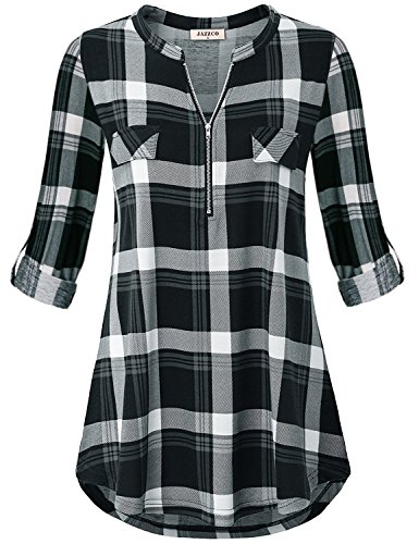 - Jazzco Ladies Maternity Blouse,Women's Plus Size Clothing Zipper Up Polo Collar 3 4 Long Sleeve Tunic Tops Casual Wear Prime Utility Color Block Shirttail Plaid Knit Henley Shirt(Plaid Black,XX-Large)