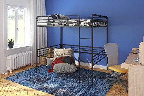 DHP Full Metal Loft Bed with Ladder, Space-Saving Design, Black - Loft Style Bunk Beds