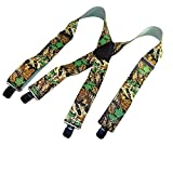 Holdup Brand USA made Trademarked Advantage Pattern Camouflage Suspenders in 2'' width and Patented Jumbo No-slip Centrer pin Clips