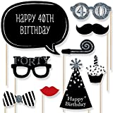 Adult 40th Birthday Party - Silver - Photo Booth Props Kit - 20 Count