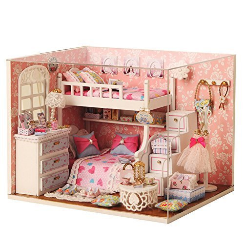 Mcitymall66 Wooden Kids Mini DIY Dolls House Pink Angel Bedroom Theme with LED Furniture & Bunk Bed Kit for Children Birthday Christmas Gift