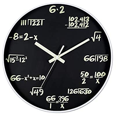 JoFomp Math Wall Clock, Glow in The Dark Silent Non-Ticking Wall Clocks, Night Light Battery Operated Decorative Wall… - ❷ 【Math Equation Design】 A unique way to track the hours Instead of Roman numerals or traditional numbers, this wall clock has a different equation at each demarcation. ❸ 【Silent Sweep Movement】 The premium quality of the precise quartz movement guarantee accurate time, also the silent sweep ensures a good study and work environment.(1 hook included) ❹ 【Perfect Gift】 Enhancing the Brain Exercise, the perfect gift for teachers and students, engineers and accountants or anyone who works with numbers. - wall-clocks, living-room-decor, living-room - 51Fwvvw3CrL. SS400  -