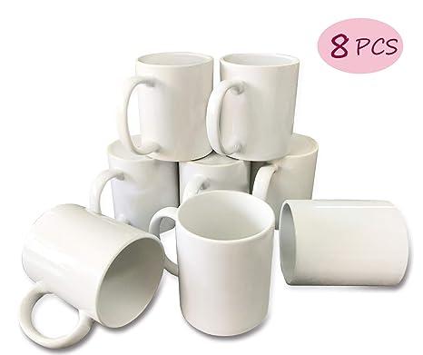 Bosstop 8PCS 11OZ Sublimation Mug Coated Ceramic Mugs White Sublimation  Blanks Mugs for Coffee Milk Tea