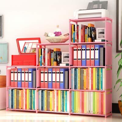 Book Case for Kids Room Storage Shelves for Bedroom Living Room Office, Pink