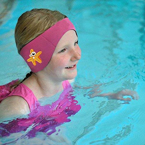 SUIEK Swimming Headband Cute Starfish Pattern (M (Fits head size range 14 - 18.5 inch)) Rose Red