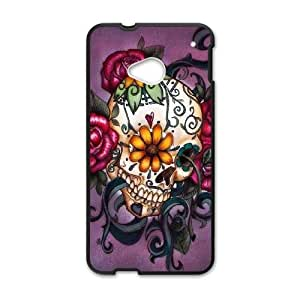 HTC One M7 Cell Phone Case Black Sugar Skull Cover umw