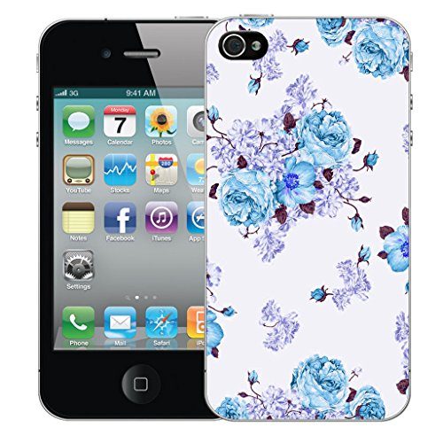 Mobile Case Mate iPhone 4 Silicone Coque couverture case cover Pare-chocs + STYLET - Blue Carnation pattern (SILICON)
