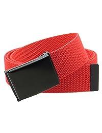"Canvas Web Belt Flip-Top Black Buckle/Tip Solid Color 50"" Long 1.5"" Wide"