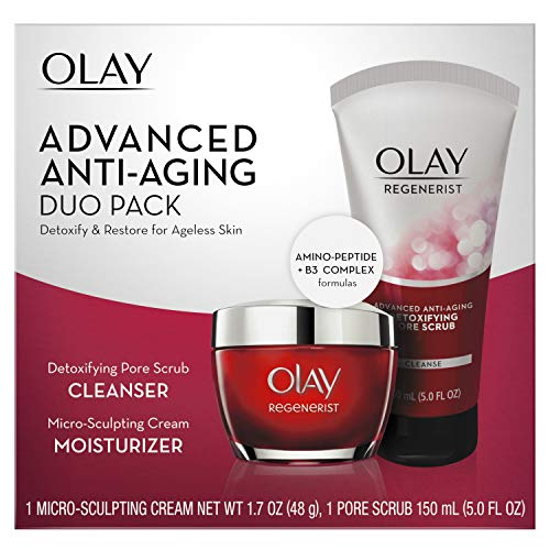 (Face Wash by Olay Regenerist Advanced Anti-Aging Pore Scrub Cleanser (5.0 Oz) and Micro-Sculpting Face Moisturizer Cream (1.7 Oz) Skin Care Duo Pack, Total 6.7 Ounces Packaging may Vary )
