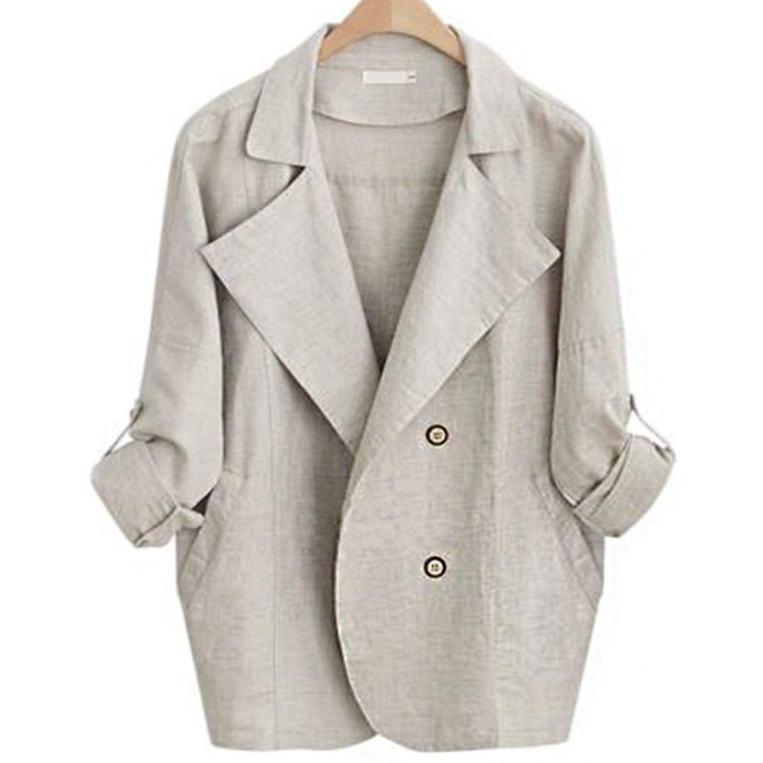 Spbamboo Womens Autumn Casual Office Cotton Long Sleeve Jacket Windbreaker Tops