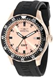 Invicta Men's 11257 Specialty GMT Rose Gold Dial Black Polyurethane Watch, Watch Central