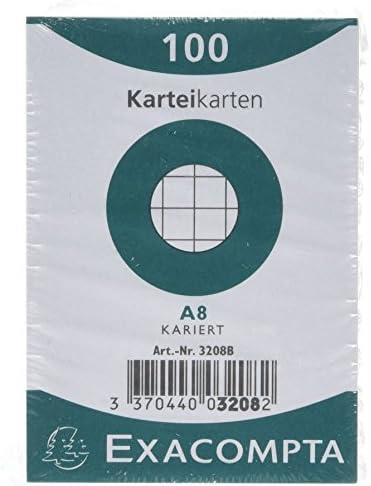 Exacompta 10209E Karteikarten (Packung mit 100, 250g, in Folie eingeschweißt, DIN A6, 10,5 x 14,5 cm, kariert, ideal für die Schule) 1er Pack weiß