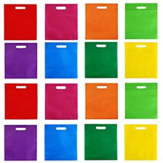Aneco 40 Pieces 9.5 by 11.5 Inches Poly Non-woven Bags Party Gift Tote Bag with Handles Goodie Rainbow Colors Treat Bag For Party Favors, 8 Colors