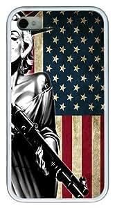 IMARTCASE iPhone 4S Case, Marilyn Monroe American Flag Case for Apple iPhone 4S/5 TPU - White Kimberly Kurzendoerfer