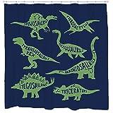 Dinosaur Types Shower Curtain - Kids Childrens Bathroom Decor - Nursery Babies Room - Blue Green Standard Size - Fits Bathtub - 72 x 72