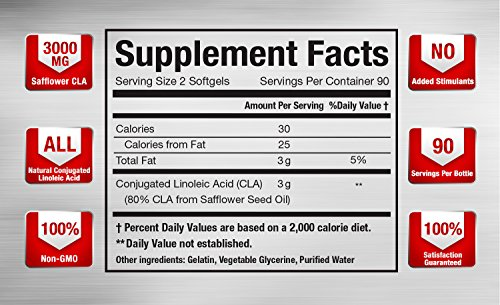 CLA Safflower Oil | CLA 3000 Maximum Potency Conjugated Linoleic Acid for Enhanced Metabolism & Weight Loss | USA Made, Non GMO, Stimulant Free Safflower CLA by Vitamorph Labs | 180 Softgels