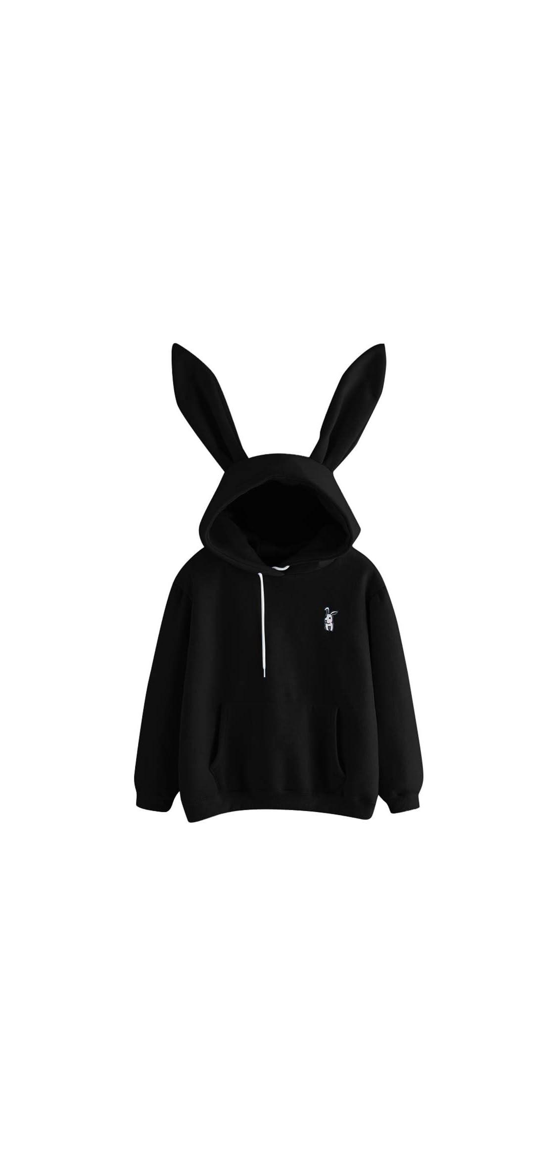 Ladies Cute Rabbit Ear Long Sleeve Hoodie Solid Color