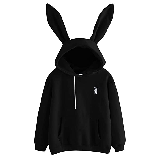 Women's Clothing New Rabbit Ears Womens Fashion Girls Super Cute Hoodie Pullovers O-neck Jacket Warm Coat Pullovers Tops