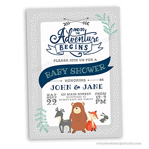 Woodland Animals Baby Shower Invitations (Set of 10) Envelopes Included Personalized by Storybook Design Studio