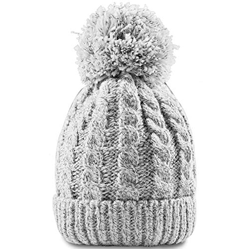 Knit Womens Beanie Cable - Women's Winter Beanie Warm Fleece Lining - Thick Slouchy Cable Knit Skull Hat Ski Cap(Grey)