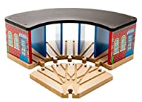 Kids Destiny Wooden Train Track Garage -Train Roundhouse Fits 5 Cars - 100% Compatible with Thomas Wooden Railway System