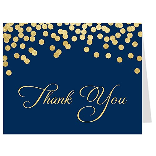Thank You Cards Confetti navy Blue Gold Golden Bridal Shower Baby Sprinkle Sophisticated Sparkle Wedding Party Stationary Brunch and Bubbly Rehearsal Dinner Champagne Glitter Business (50 count) -