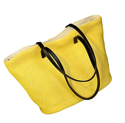HopeEye mujer Tendencias de la moda Paja Mochila para mujer Bolso de las señoras Bolsa de paja Bolso de Crossbody 2-amarillo