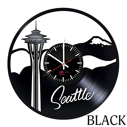Seattle Washington HANDMADE Vinyl Record Wall Clock – Get unique home room wall decor – Gift ideas for adults and youth – Seattle Travel Unique Modern…
