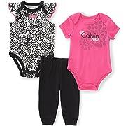 Calvin Klein Baby Girls' 3 Pieces Bodysuit Pant Set, Pink/Black, 6/9M