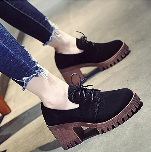 Heeled Wild Of 8Cm Shoes High The Version Leather Small Autumn Thick 38 Waterproof New With England Bold The Shoes Retro Taiwan And Female KHSKX Single Korean Shoes BwPOS
