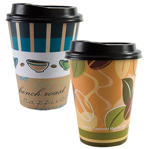 Pattern 14k (Nicole Home Collection 14 Count Hot/Cold Cup with Lid, 12-Ounce, Coffee Cup or Coffee Bean Pattern)