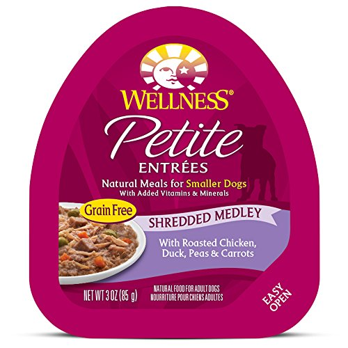 Wellness Petite Entrees Shredded Medley Grain Free Natural Wet Small Breed Dog Food, Roasted Chicken & Duck, 3-Ounce Cup (Pack Of 24)