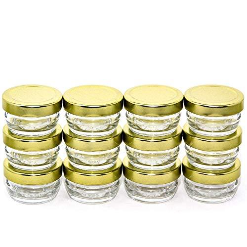 Small Mini Glass Jars With Tin Lids - 12 pack x 1 oz - All Purpose Empty Storage Jars