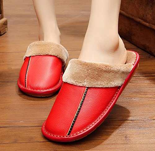 Pantofole Da Donna Cattior Indoor Outdoor Calde Pantofole In Pelle Rossa