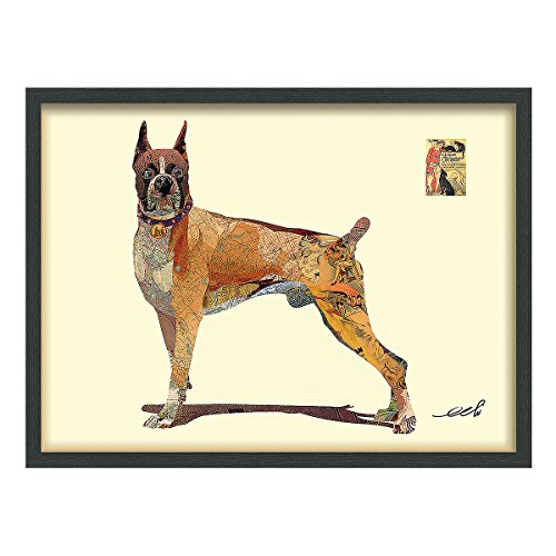 (Empire Art Direct Boxer Dimensional Collage Handmade by Alex Zeng Framed Graphic Dog Wall Art 25