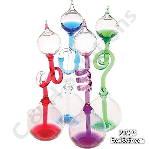 (Colorful Office Thinking Hand Boiler, Glass Science Energy Transfer, Children Science Experiment, Love Birds Color Meter Hand Boiler, 2 Pcs (Red&Green) By C&H)