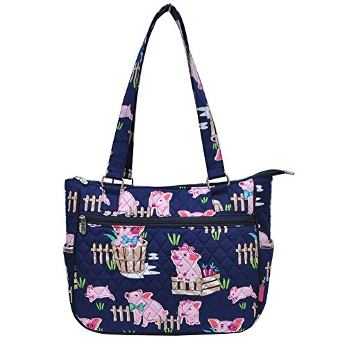 Ngil Quilted Cotton Shoulder Bag (Pig Navy Blue) (Bag Handbag Quilted Cotton Shoulder)