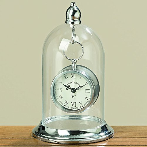 The Bond Street Clock in a Dome, Vintage Style Table Top Time Piece, Knob Top Hanger, Glass Cloche Bell Jar Top, Polished Silver Iron, 1 AA Battery Required, By Whole House Worlds World Time Tabletop Clocks
