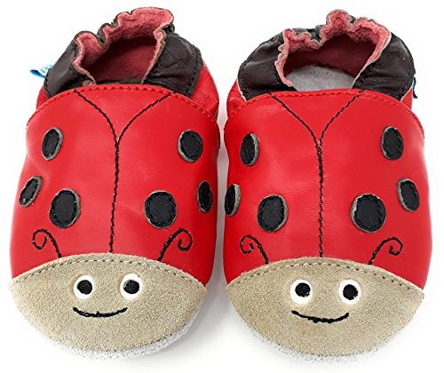 Pram Shoes Red Ladybug Toddler Shoes MiniFeet Soft Leather Baby Girl Shoes