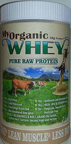 Pure Whey Bio Protein - MyWHEY Grass-fed Organic Raw Whey Protein - Bio-active Cold Process Grade-A Milk Hormone-free Non-gmo Organic Whey Concentrated Powder Vanilla 2lb = 1,890g Protein = 90 Serving @ $1.12 by Natur-Pur