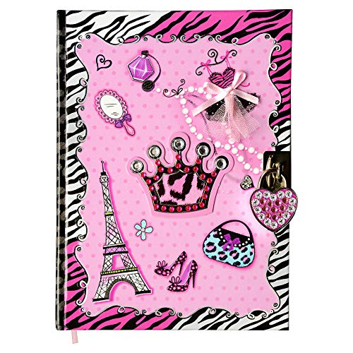 SMITCO Diaries - Secret Hardcover Writing Journal Book with 300 Double-Sided Lined Pages, a Heart Shaped Lock and 2 Silver Keys to Keep Her Dreams Safe - 5 to 10 Year Old Girls