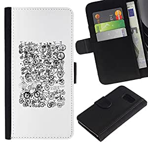 All Phone Most Case / Oferta Especial Cáscara Funda de cuero Monedero Cubierta de proteccion Caso / Wallet Case for Samsung Galaxy S6 // White Black Pattern Hipster