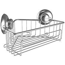 Gecko-Loc Shower Corner Caddy w Suction Cup Stainless Steel Shampoo Conditioner Holder Deep Storage Basket and Shelf - Chrome …