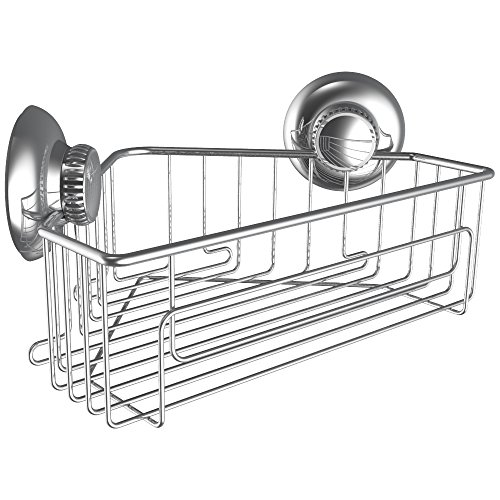 Gecko-Loc Shower Corner Caddy w Suction Cup Stainless Steel Shampoo Conditioner Holder Deep Storage Basket and Shelf - Chrome …